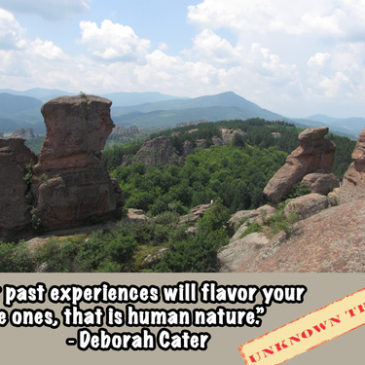 """Your past experiences will flavor your future ones, that is human nature."""